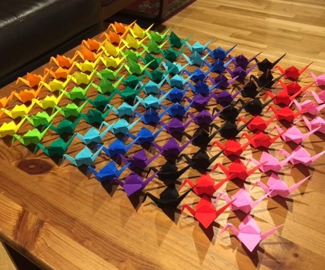 100 colorful origami cranes